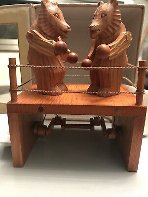 Rare Handmade Wooden Carved Bears Boxing Chester Wedgewood Gear Mechanism Mib!