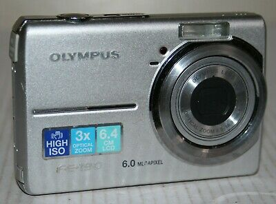 Olympus FE-190 6MP Digital Camera With Battery Charger & Case - Silver