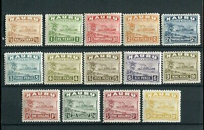 Nauru KGVI 1937-48 Shiny paper set of 14 SG26B/39B mint hinged