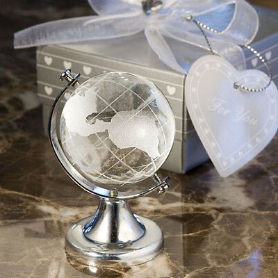 Choice Clear Crystal Globe Etched Glass Favour Ornament - Gift Boxed