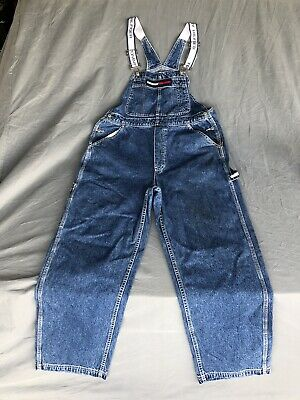 acde46c2 Vintage Tommy Hilfiger Overalls Mens Size Large Blue Big Flag Spell Out 90s
