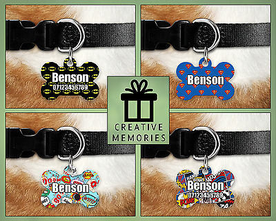 Custom Personalised Pet Dog Name ID Tag For Collar Pet Tags - Engraved - Comic