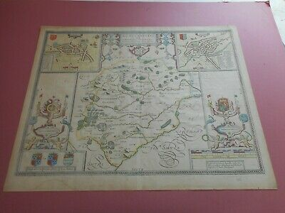 100% Original Large Rutlandshire Map By John Speed C1676  Edition Hand Colour