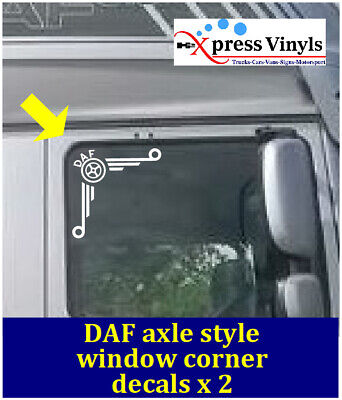 DAF truck window decals x 2. corner graphics stickers CF XF ANY COLOUR