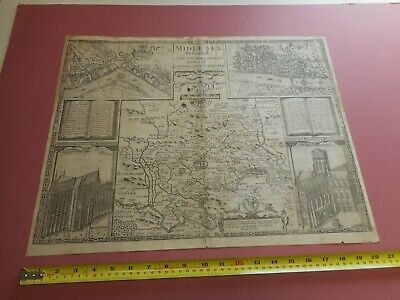 100% Original Large Middlesex London Map By John Speed C1627 Edition