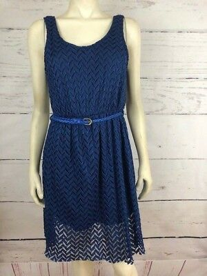 NWT Maude Anthropologie Sz M Blue Belted Lined Lace Overlay Dress Retail $49 F45