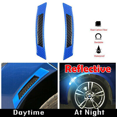 2PCS Blue Reflective Carbon Fiber Car Side Door Edge Protector Guard Sticker