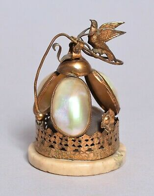 A Beautiful Antique 19Thc French Gilt Metal Mother Of Pearl Table Bell