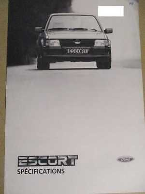 Catalogue Auto : Ford : Escort Specifications 12/1983