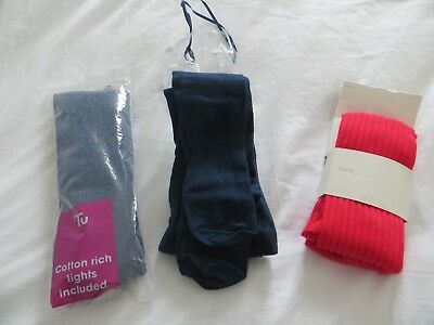 BNWT x 3 Pairs of Girls Navy Blue Red & Navy Blue Sparkle Tights Age 8-10 years
