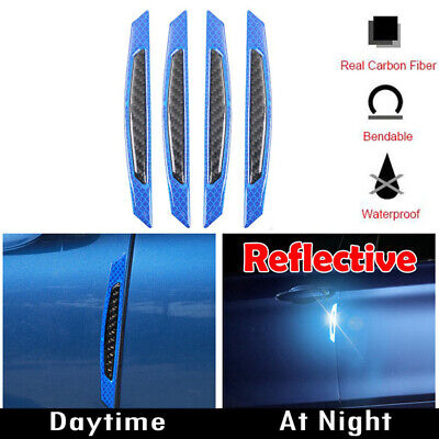 Blue Reflective Carbon Fiber Auto Car Side Door Edge Protector Guard Sticker