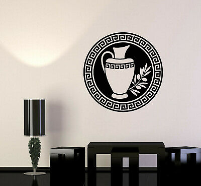 Vinyl Wall Decal Antique Greek Ornament Jug Olive Branch Stickers (3572ig)