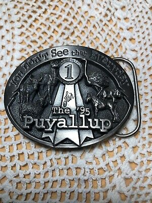 """Vtg Pewter Puyallup Fair Belt Buckle/Siskiyou """"You Don't See That Everyday"""" 1995"""