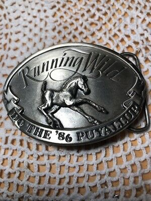 "Vintage Pewter Puyallup Fair Belt Buckle by Siskiyou "" Running Wild"" 1986 LE"