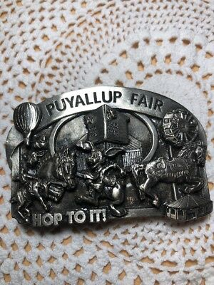 "Vintage Pewter Puyallup Fair Belt Buckle by Siskiyou ""Hop To It"" 1984 Series LE"