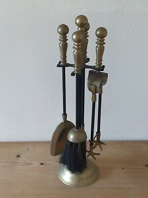 Solid Brass & Black Fireside Companion Set Fire Tidy Brush/Poker/Shovel/Tongs