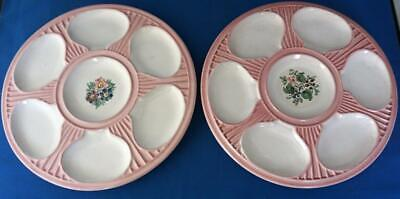 Pair of Oyster Plates Danish Scandinavian Faience Pottery Vintage