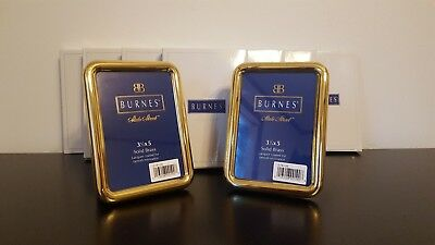 "Pair of Burnes State Street Solid Brass 3.5"" X 5"" Frames BRAND NEW IN BOX"