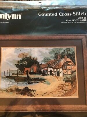 Janlynn Counted Cross Stitch Kit Fishing Village 102-05 New sealed complete