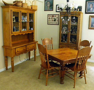 Antique  Square Solid Oak Dining Table 1900-1950; 4 Oak Chairs;China/Hutch(80's)