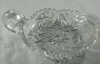 Vintage Clear Glass Handled Nappy Dish Sawtooth Pinwheel Hobstar Fan Round bowl