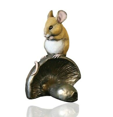 Mice Cold Cast Bronze Mouse On Strawberry Hand Painted Michael Simpson.