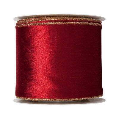 2m Wire Edge Fabric Red Merry Christmas Ribbon Holly Xmas Present Wrap Craft63mm