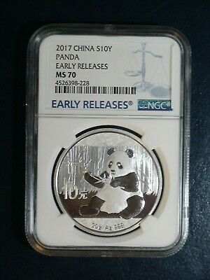 2017 China Panda 10 Yuan NGC MS 70 EARLY RELEASES .999 Silver 1 Oz.10YN Coin!