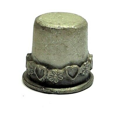 Older Pewter Thimble With A Band Of Hearts And Flowers In Hi-Relief