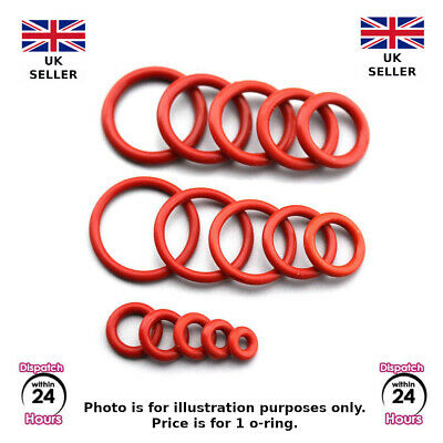 1mm Thick FOOD GRADE, RED SILICONE, Rubber O Rings VARIOUS METRIC SIZES. O-Rings