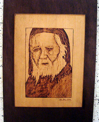Vintage Folk Art Carved Wood Relief Picture of an Old Man signed A A 1970
