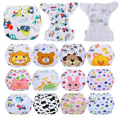 5 PCS CLOTH DIAPERS +5 PCS INSERTS Baby Nappies Adjustable Reusable Breathable
