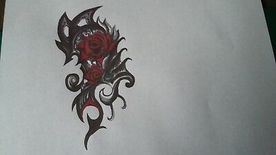 Multilayer step by step airbrush stencil tattoo Tribal rose