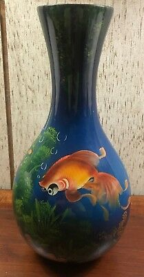 See Me!!! Orange Koi Goldfish Fish Lacquer Ware Vase Made In Vietnam - Stunning!