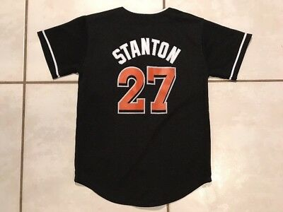 101263508 Rare MAJESTIC Miami Marlins Giancarlo Stanton MLB BLACK Jersey Youth Medium