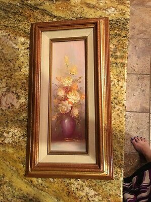 vintage estate original oil painting by Robert Cox Floral roses on board