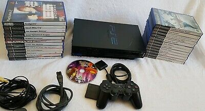 Sony PlayStation 2 PS2 Black + controller + Memory card 24 Games FULLY  WORKING