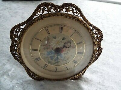 "Vintage 1940s 5"" Mantel Mantle Clock Embroidered Dial Wind Up Made in Great Brit"