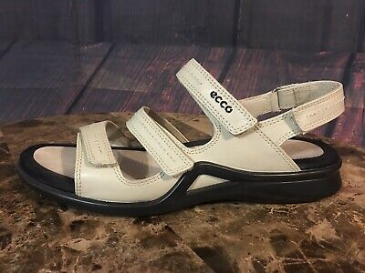 7c1e67151121 Ecco Light Leather Sandals Strappy Hook Loop Strap Off White Women s Sz 41  US 10