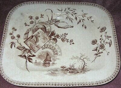 ANTIQUE 19th CENTURY TENNYSON NEW WHARF POTTERY VERY LARGE PLATTER; 16.5 X 13.25