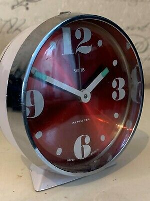 Vintage 1960s Retro Smiths Wind Up Red Translucent  dial Repeater Alarm Clock