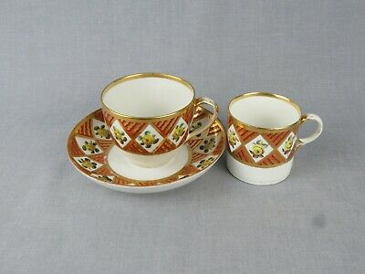 Antique Derby Trio Comprising Teacup, Coffee Can And Saucer - Circa 1806-1825