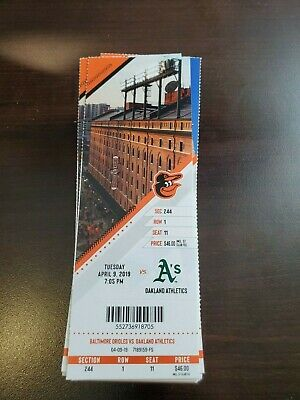Baltimore Orioles Athletics MINT Season Ticket 4/9/19 2019 MLB Stub