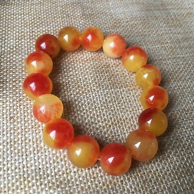 12mm NATURE red JADE BRACELET GREEN HAND CATENARY A0