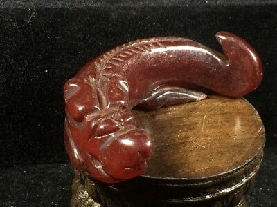 Chinese old natural jade hand-carved Dragon statue pendant XO084
