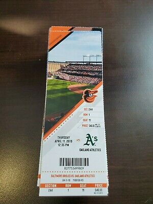 Baltimore Orioles Athletics MINT Season Ticket 4/11/19 2019 MLB Stub