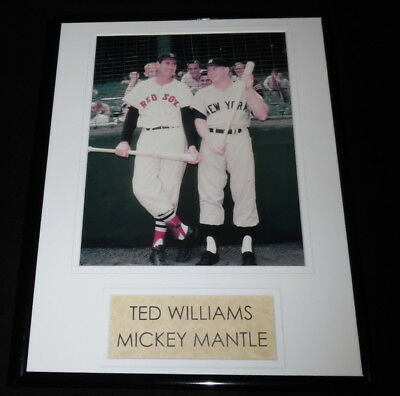 Ted Williams & Mickey Mantle Framed 11x14 Photo Display Red Sox Yankees
