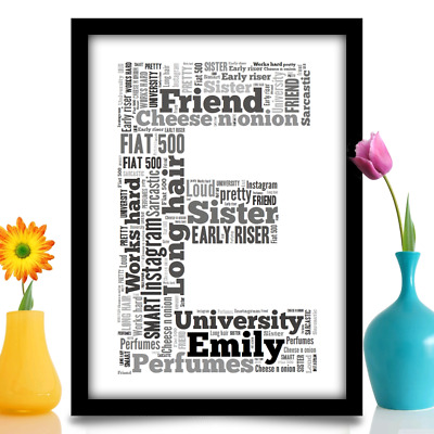 Birthday gift for sister Daughter LETTER INITIAL word art A4 print YOUR WORDS