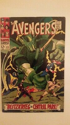 AVENGERS # 45 SUPER ADAPTOID HERCULES  joins 12c 1967 SILVER AGE MARVEL