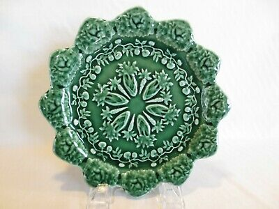 "Bordallo Pinheiro Portugal Majolica Green Rabbit Accent 8.25"" Salad Plate EUC"